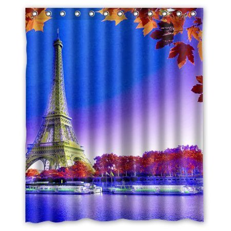 GreenDecor Products Paris Eiffel Tower Waterproof Shower Curtain Set With Hooks Bathroom Accessories Size 60x72 Inches
