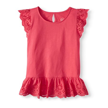 Fish Girl Fitted Shirt - Girls' Short Sleeve Eyelet Top (Little Girls, Big Girls, & Plus)