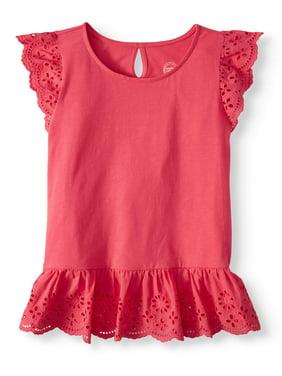 7c69e04f650 Product Image Girls  Short Sleeve Eyelet Top (Little Girls