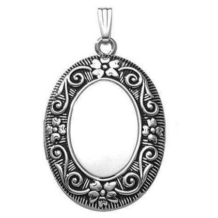 "Sterling Silver Oval ""Antique"" Picture Locket - 1 1/2 Inches Wide X 2 Inches Tall in Sterling Silver"