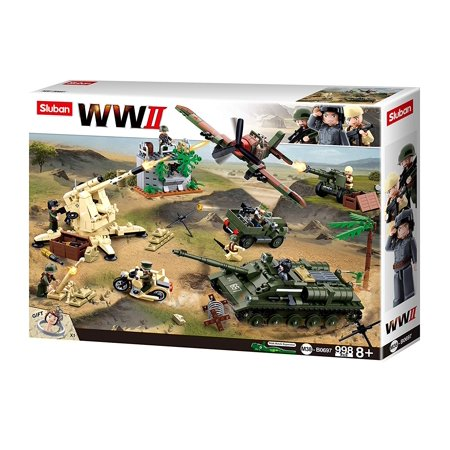 Sluban Kids Army Building Blocks WWII Series Battle Of Kursk Building Toy Army Fighter Jet & Tank 998 Pc Set