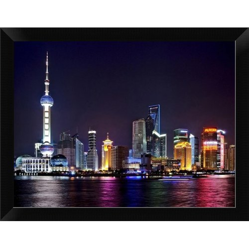 East Urban Home 'Shanghai at night' Framed Photographic Print
