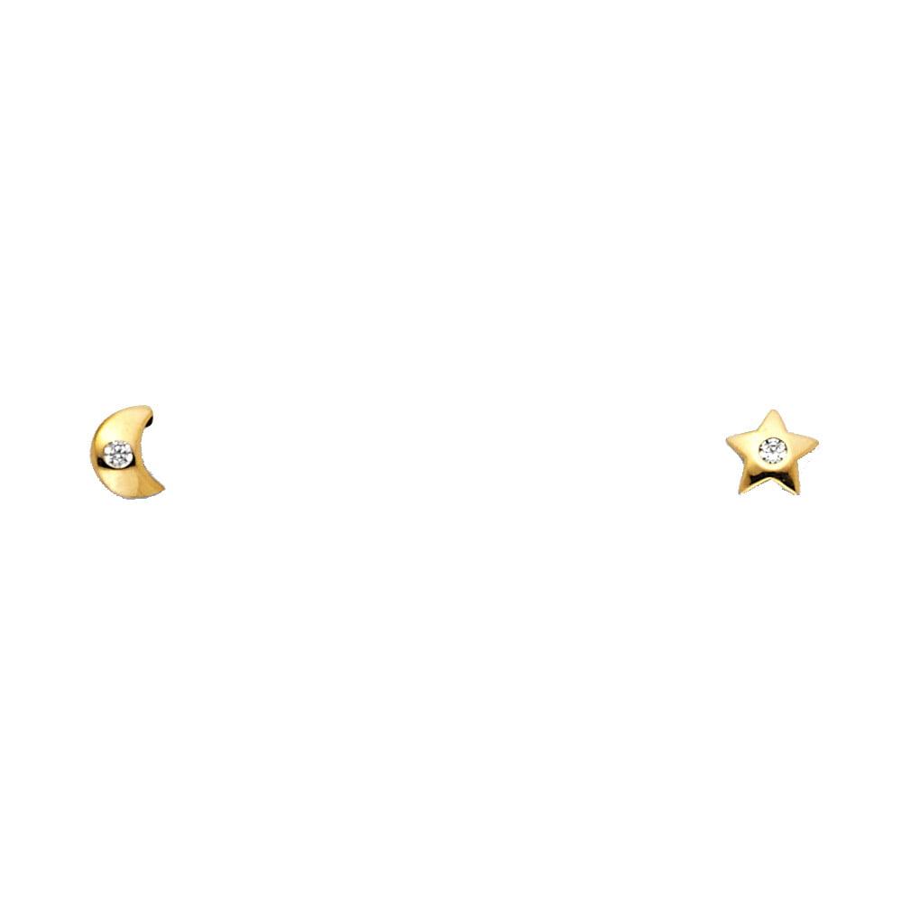Ioka 14K Yellow Gold CZ Moon and Star Stud Screw Back Earrings