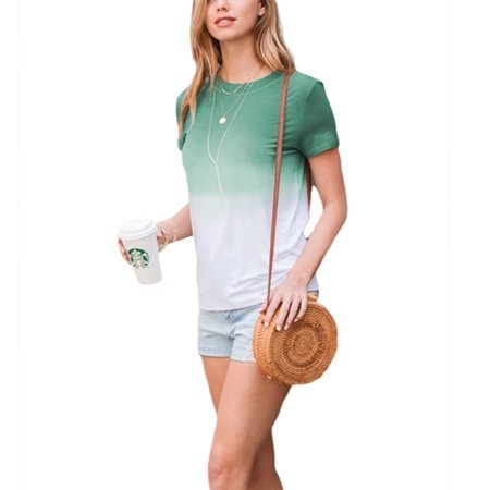Women Summer Short Sleeved Top Korean Fashion Color Contrast Slim Fit T Shirt Teen Girl Casual Tops Walmart Canada