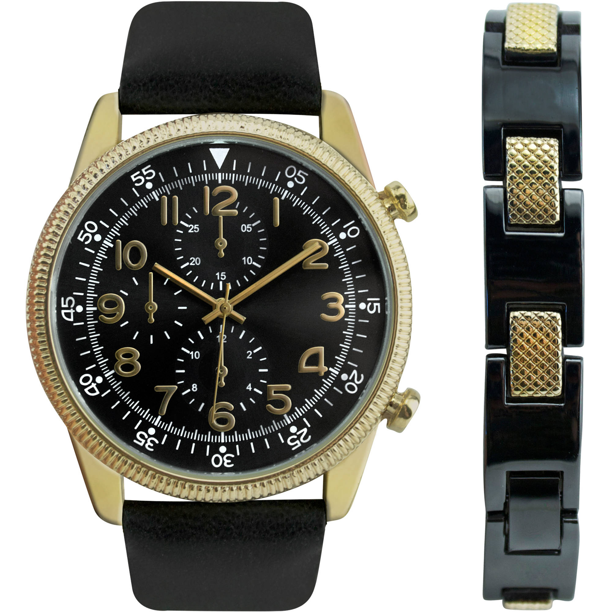 Men's Watch with Black Strap Gift Set and Two-Tone Bracelet
