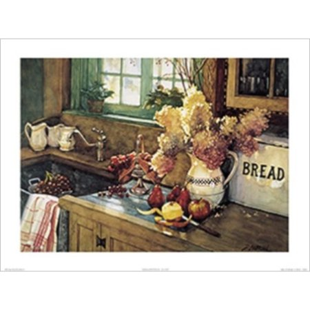 Apples and Hydrangea by Deborah L. Chabrian 24x18 Art Print Poster Vintage Still Life Kitchen Sink Flowers Apples Pears and Grapes