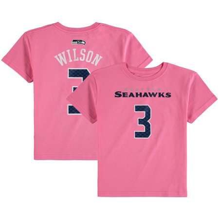 Russell Wilson Seattle Seahawks Girls Preschool Mainliner Player Name & Number T-Shirt - Pink](Pink Seahawks)