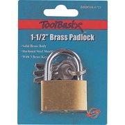 ProSource Light Duty Padlock, 1-1/2 In, 3 Pins, Standard Hardened Steel Shackle, Solid Brass