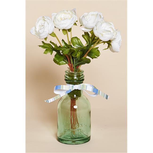 Harvest of Barnstable SCWFB Green Glass Bottle with White Silk Flowers