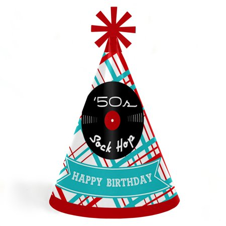 50's Sock Hop - Cone Happy Birthday Party Hats for Kids and Adults - Set of 8 (Standard Size)](Sock Hop Party Ideas)