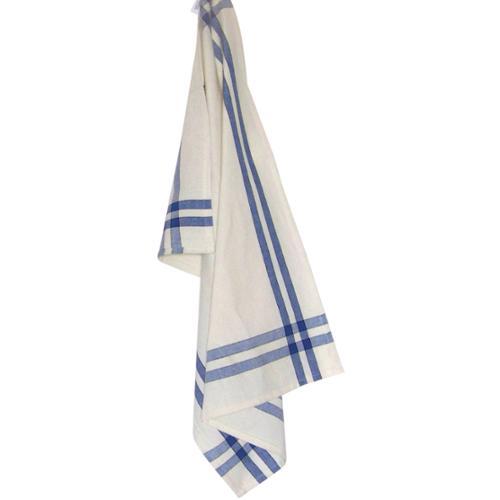 "Cream Towel W/Provincial Blue & Black Stripes 20""X29""-"