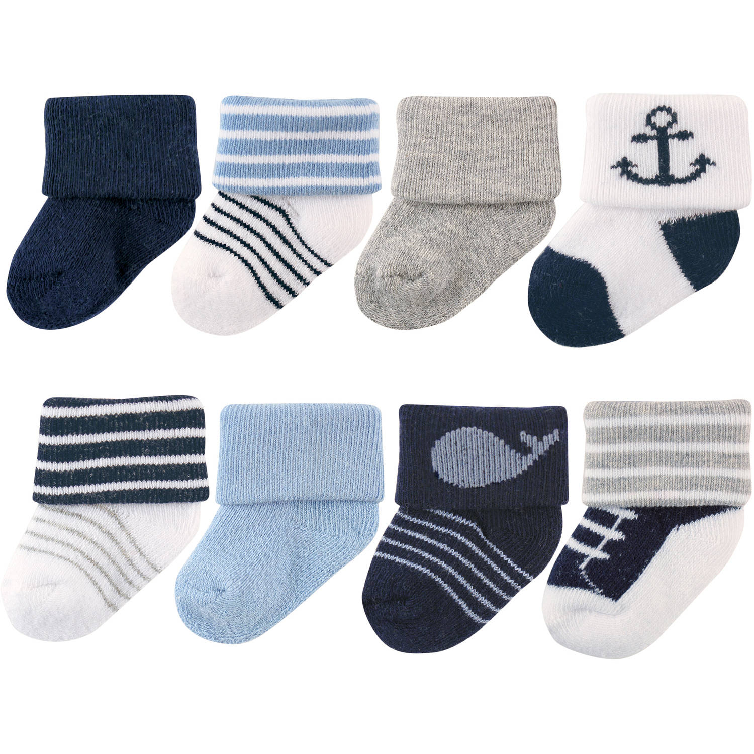 Luvable Friends Newborn Baby Boys Socks 8-Pack