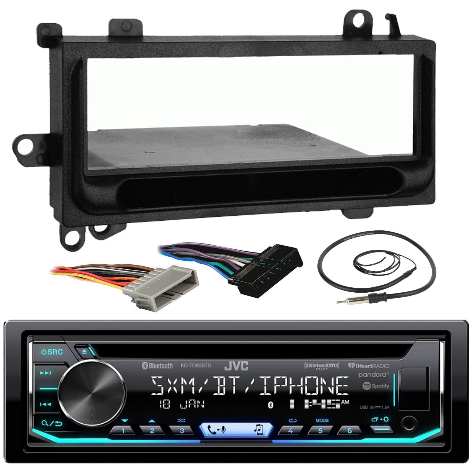 JVC KD-TD90BTS Car CD MP3 iPod Bluetooth Stereo Receiver Bundle Combo W/ Metra Installation Kit For 1974 and Up Chrysler/Dodge/Jeep Cars + Radio Wiring Harness + Enrock Antenna W/ Adapter Cable