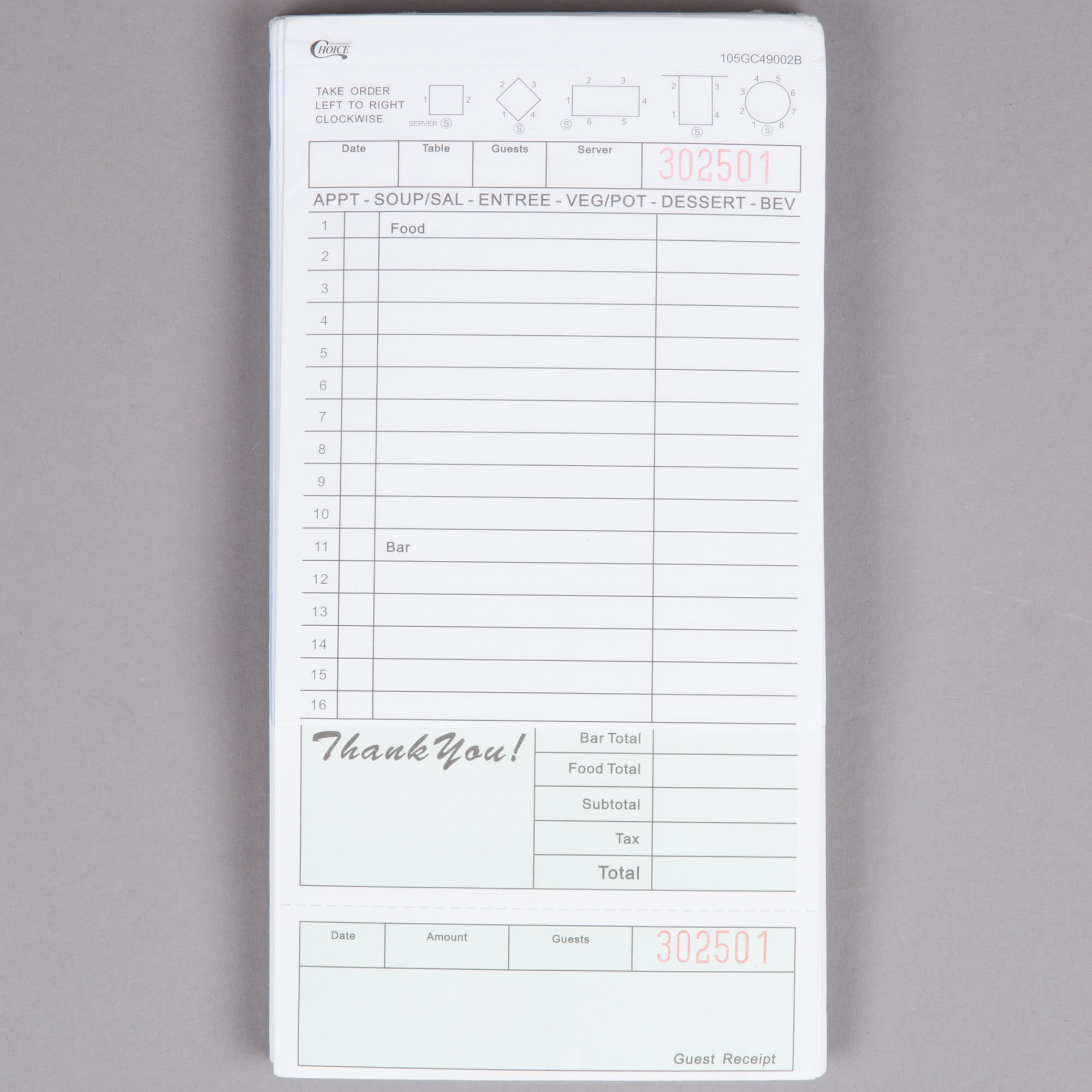 2 Part Segmented Green and White Carbonless Guest Check with Beverage Lines and Bottom Guest Receipt - 50/Case By TableTop King