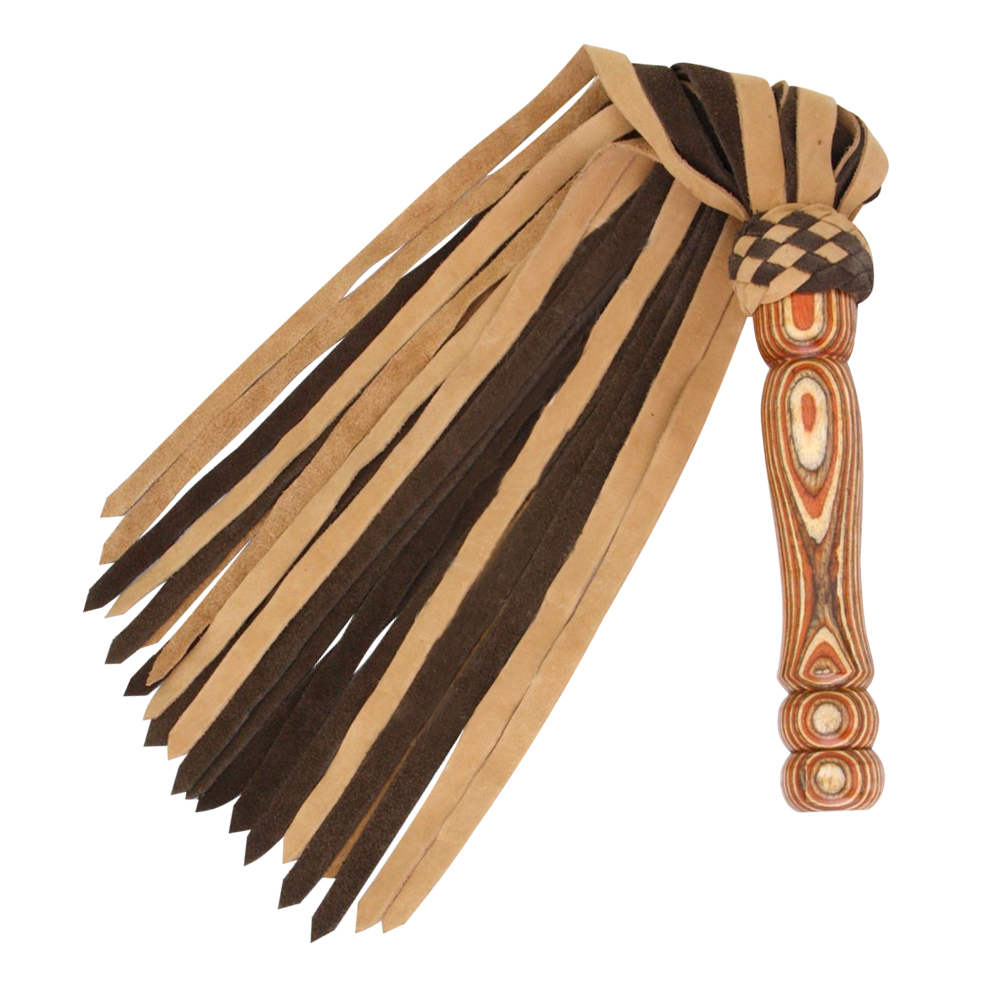 Suede and Nubuck Thick Leather Flogger 25 Tails Laminated Carved Wood Handle