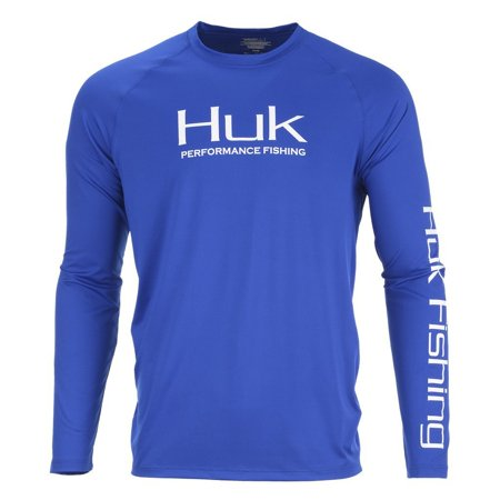 Huk Fishing Men's Pursuit Vented Long Sleeve Shirt, Blue, XL - H1200150-400-XL