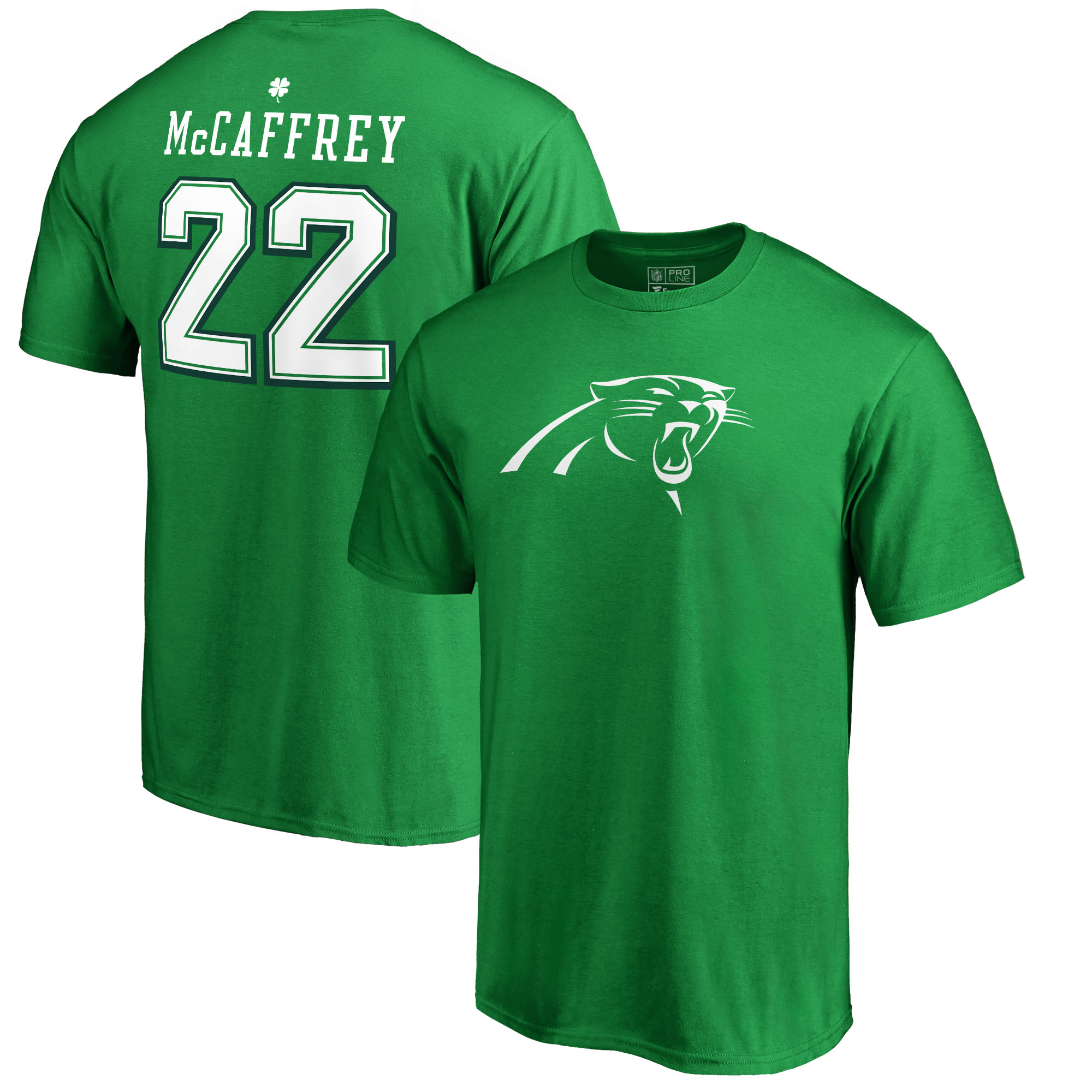 Christian McCaffrey Carolina Panthers NFL Pro Line by Fanatics Branded St. Patrick's Day Icon Name & Number T-Shirt - Kelly Green