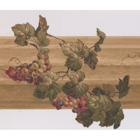 """Red Beige Grapes on Vine on Wooden Fence Kitchen Wallpaper Border Retro Design, Roll 15' x 10"""" - image 3 of 3"""
