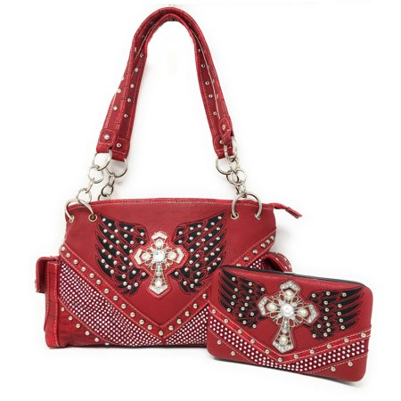 Premium Western Rhinestone Studded Angel Wings Cross Shoulder Handbag Purse With Matching Wallet In Multi Color