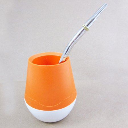 ARGENTINA MATE GOURD YERBA TEA PLASTIC CUP STRAW BOMBILLA HERBAL DRINK NEW 5645