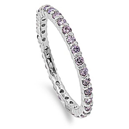 Sterling Silver Eternity Ring (CHOOSE YOUR COLOR Sterling Silver Eternity Band Simulated Amethyst Thin 2mm Ring Stackable)