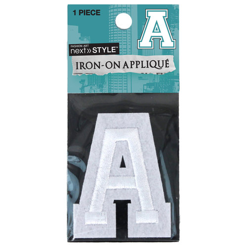 "Next Style Single Embroidery Letter ""A"", White"