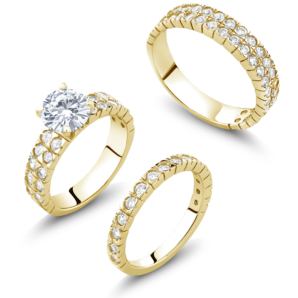 4.43 Ct His and Hers 3 Pieces Gold Plated Silver & CZ Engagement Wedding 3 Set