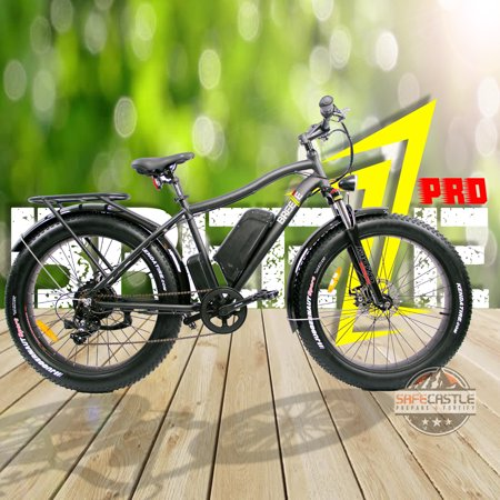 Pro Mountain Bike (Breeze Pro Fat Tire Electric Mountain Bike 750W, Samsung 48V, 11.6Ah, 7 Speed Gear 19 inch with LED, Fender and Back Carrier, Matte Black )
