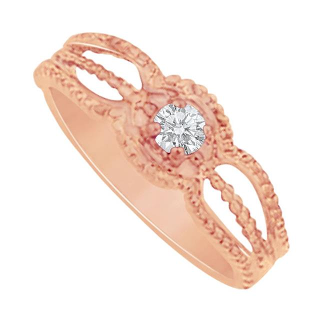 Fine Jewelry Vault UBNR81390P14CZ Elegant CZ Mother Ring in 14K Rose Gold