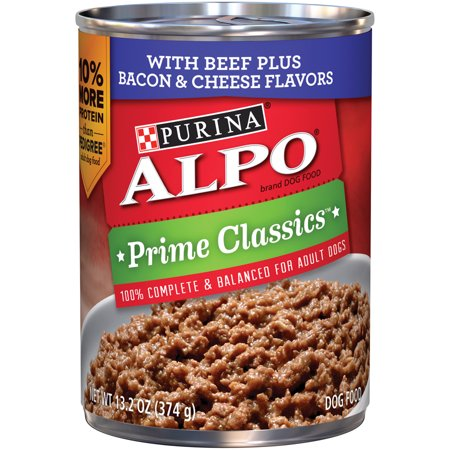 ALPO Prime Classics With Beef Plus Bacon & Cheese Flavors Wet Dog Food, 13.2-Oz, Case of 12
