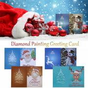 snorda Christmas Greeting Card Cartoon DIY 5D Diamond Painting Gift Hand-Made Festival