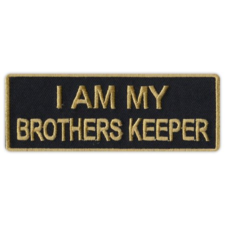 Motorcycle Jacket Embroidered Patch - I Am My Brother's Keeper (Black/Gold) - 4