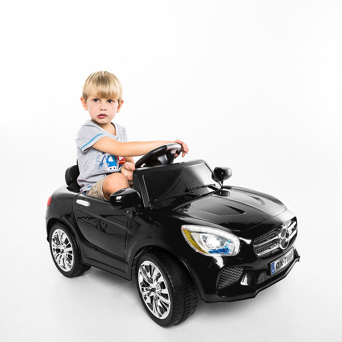 Costway 6V Kids Ride On Car RC Remote Control Battery Powered w  LED Lights MP3 Black by Costway