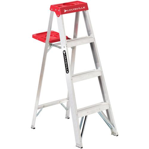 Louisville Ladder 4' Aluminum Stepladder Type III with Pail Shelf
