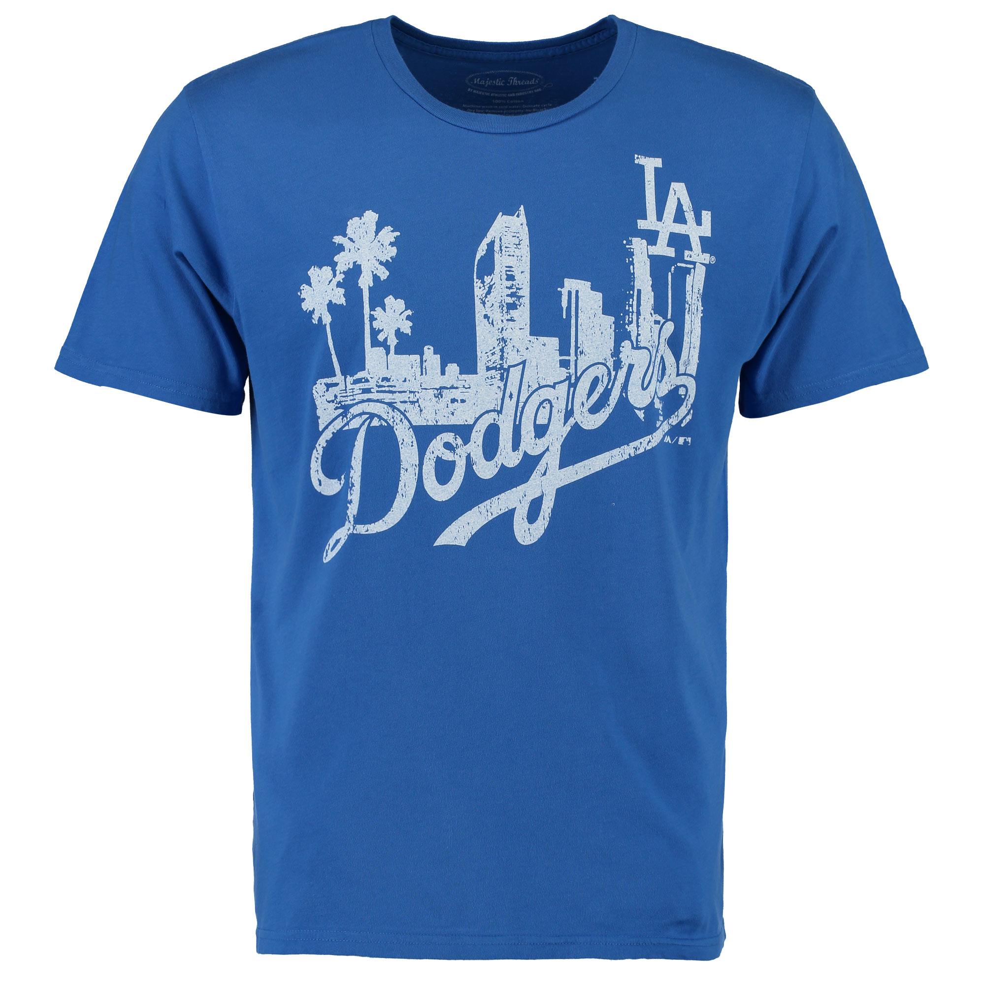 Los Angeles Dodgers Majestic Threads City Skyline Softhand T-Shirt - Royal