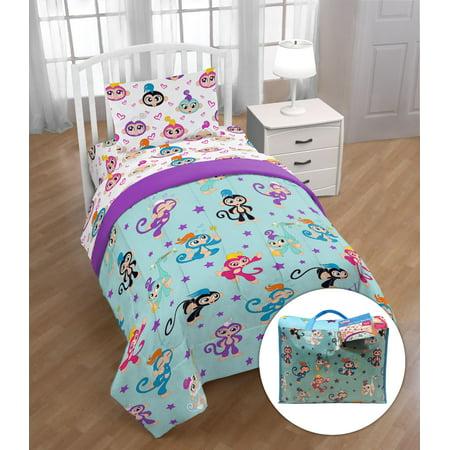 Sock Monkey Bedding Set - Fingerlings 'Monkey Around' Twin Bed Set with Bonus Tote, Kid's Bedding