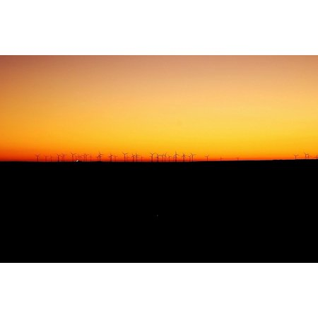 Wind Farm Wind Light Sunset Landscape Sun Poster Print 24 x 36 ()