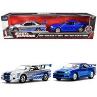 "Brian's Nissan Skyline GT-R (BNR34) Silver & Nissan GT-R (BNR34) Blue Metallic Set of 2 pieces ""Fast & Furious"" 1/32 Diecast Model Cars by Jada"