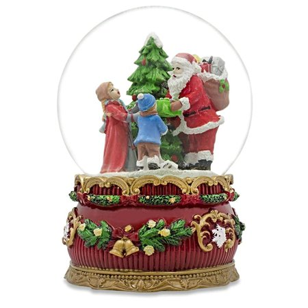 Santa Giving Christmas Gifts Musical Box Snow Globe