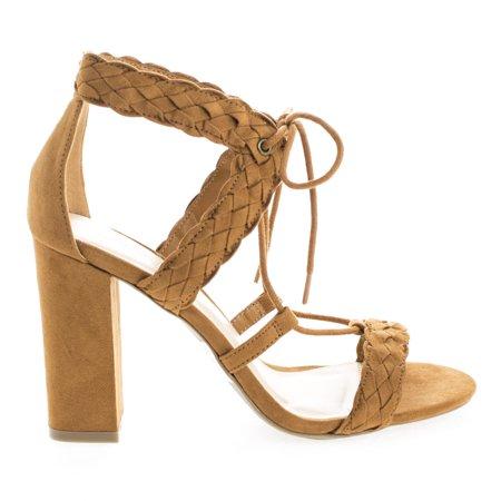 7eeeb65fca Luciana91 by Wild Diva, Open Toe Lace Up Block High Heeled Sandals -  Walmart.com