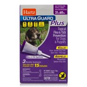 Hartz UltraGuard Plus Flea and Tick Drops for Medium Dogs, 3 Monthly Treatments