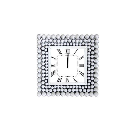 Benzara BM184771 Mirrored Wall Clock In Square Shape, White - 19.69 x 2.56 x 19.69 in. - image 1 of 1