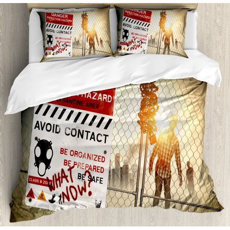 Zombie Decor Queen Size Duvet Cover Set, Dead Man Walking Dark Danger Scary Scene Fiction Halloween Infection Picture, Decorative 3 Piece Bedding Set with 2 Pillow Shams, Multicolor, by Ambesonne - Halloween 3 Scene