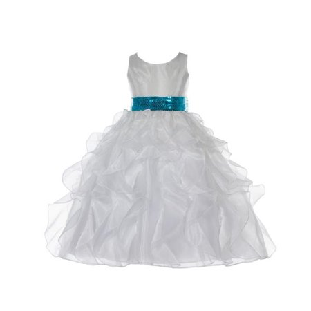 Ekidsbridal Ivory Ruffled Organza Sequin Sash Flower Girl Dresses Formal Special Occasions Dresses Wedding Pageant Junior Toddler First Communion Holy Baptism Recital Reception Holiday 168mh for $<!---->