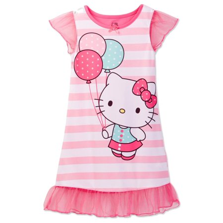 Hello Kitty Toddler Girls' Pink Striped Dorm Nightgown,  Gown Sizes 2T-4T, Pink, Size: 4T ()