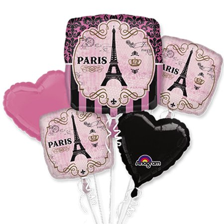 A Day in Paris Theme Foil Balloon Bouquet](Paris Birthday Decorations)