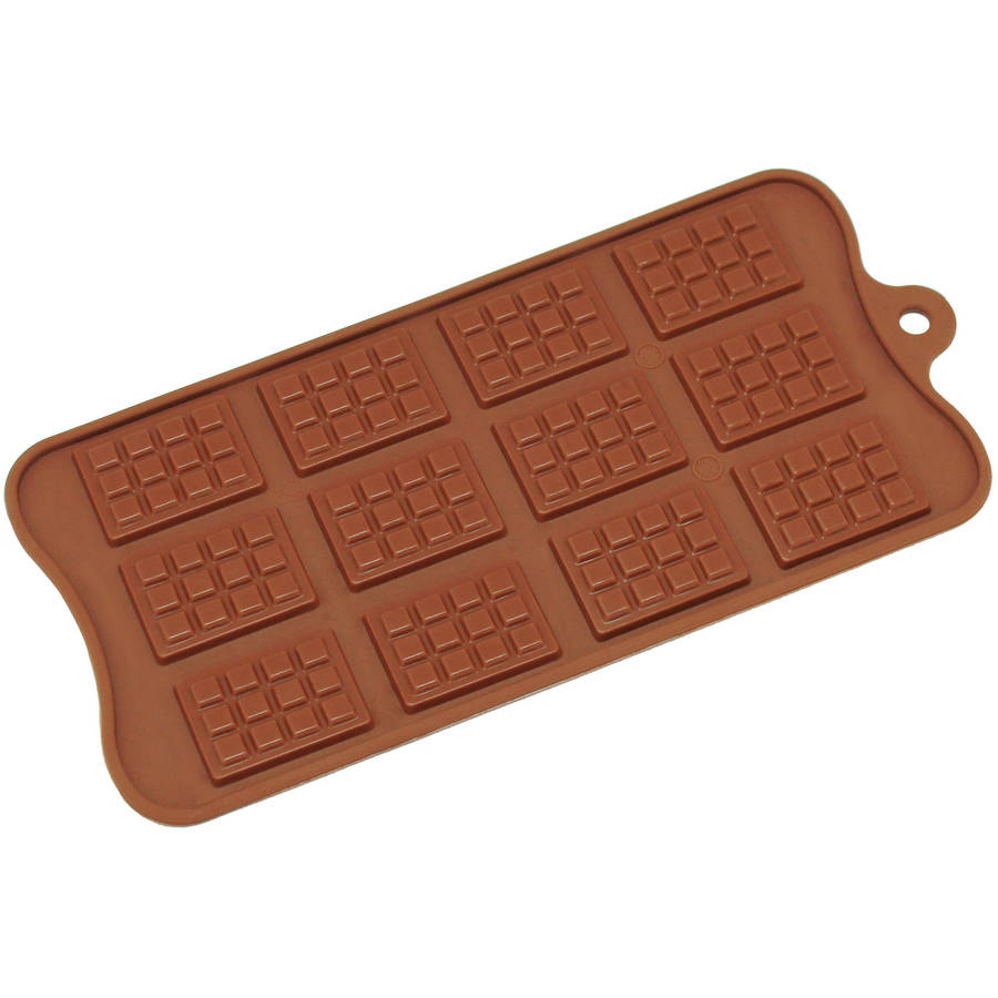 Freshware 12-Cavity Mini Rectangle Waffle Silicone Mold for Chocolate, Candy and Gummy, CB-615BR