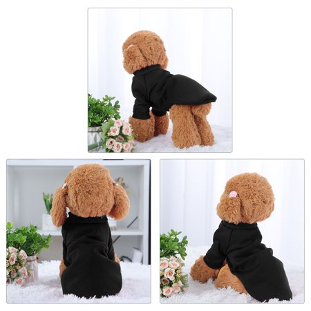 Cotton Blend Dog Winter Sweatshirt Pet Clothes Fleece Lined Warm Coat Black M - image 5 of 7