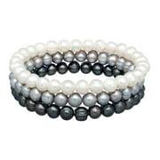 Befitting Multi-Color Grey Ringed Freshwater Pearl Bangle Bracelet Set in Stainless Steel