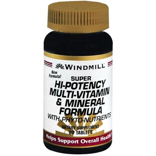 Windmill Super Hi-Potency Multi-Vitamin and Mineral Formula Tablets 60 Tablets (Pack of 2)